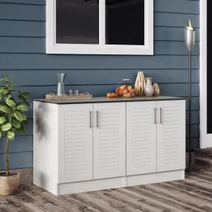 Weatherstrong Key West 59 5 In Outdoor Cabinets With Countertop 4 Full Height Doors In White En000100 Krw The Home Depot Outdoor Cabinet Outdoor Kitchen Cabinets Outdoor Storage Cabinet
