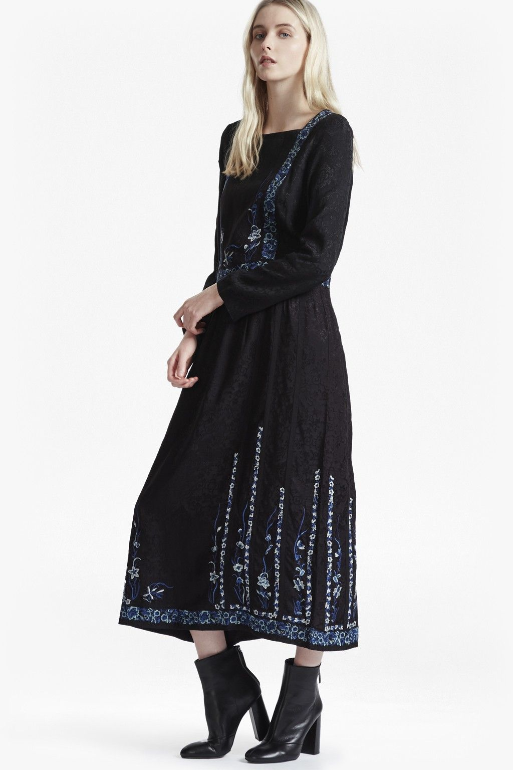 French connection argento stitch floral embroidered maxi dress