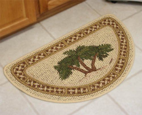 Palm Tree Rattan Kitchen Rug Slice Laundry Room Door Mat Tropical