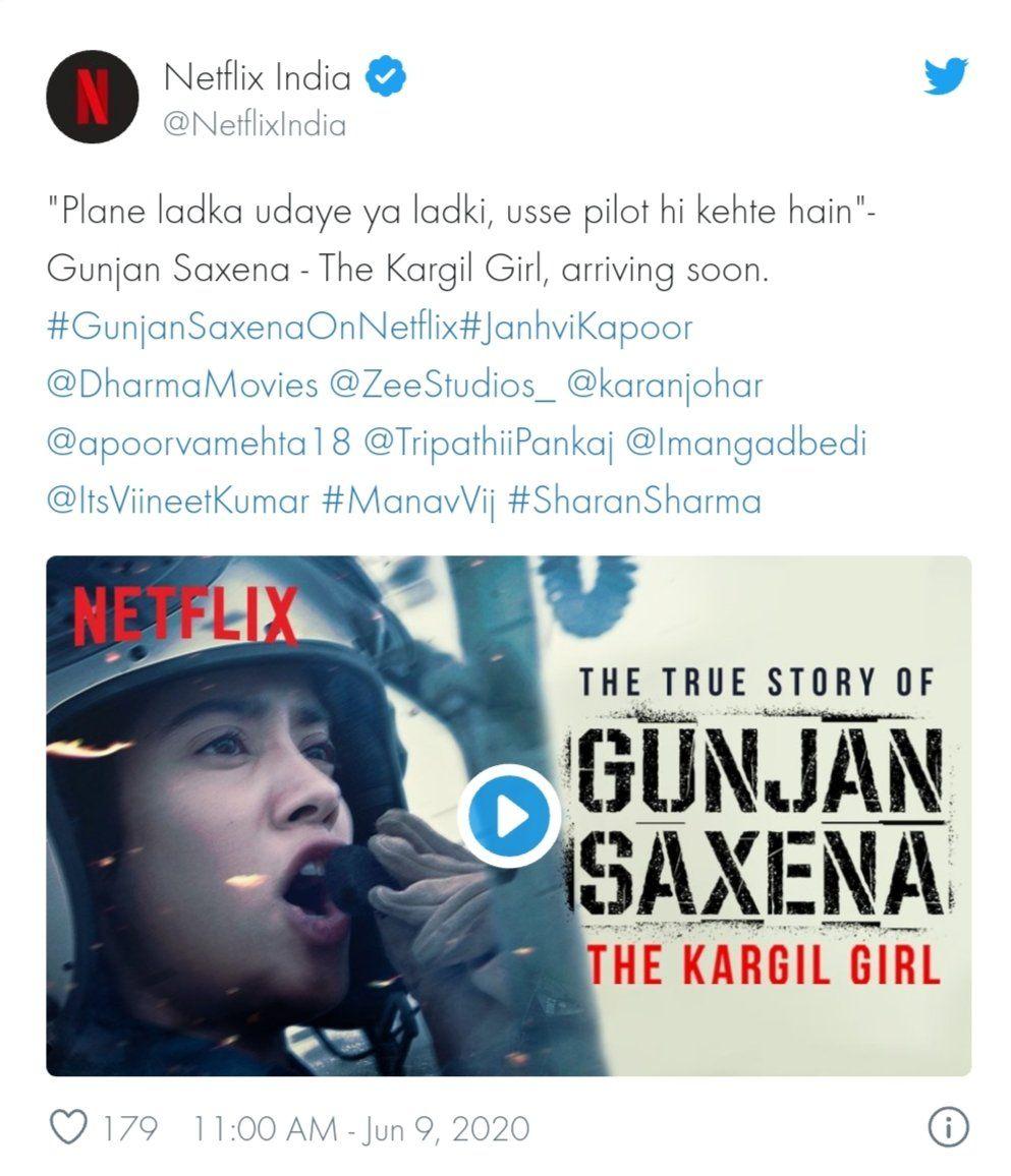 Jahnvi Kapoor Starrer Gunjan Saxena The Kargil Girl To Premiere On Netflix Soon In 2020 Netflix Premiere Entertainment News