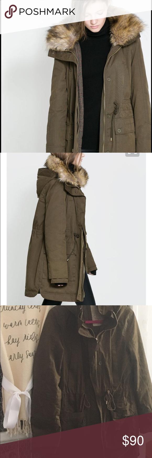 Zara Trafaluc Army Green Parka S Green Parka Warm Jacket Winter Coat [ 1740 x 580 Pixel ]