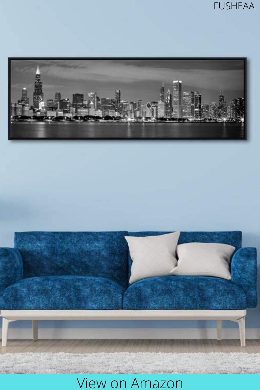 Art Framed Canvas Wall Art Chicago City In 2020 White Wall Decor Framed Canvas Wall Art Living Room Pictures