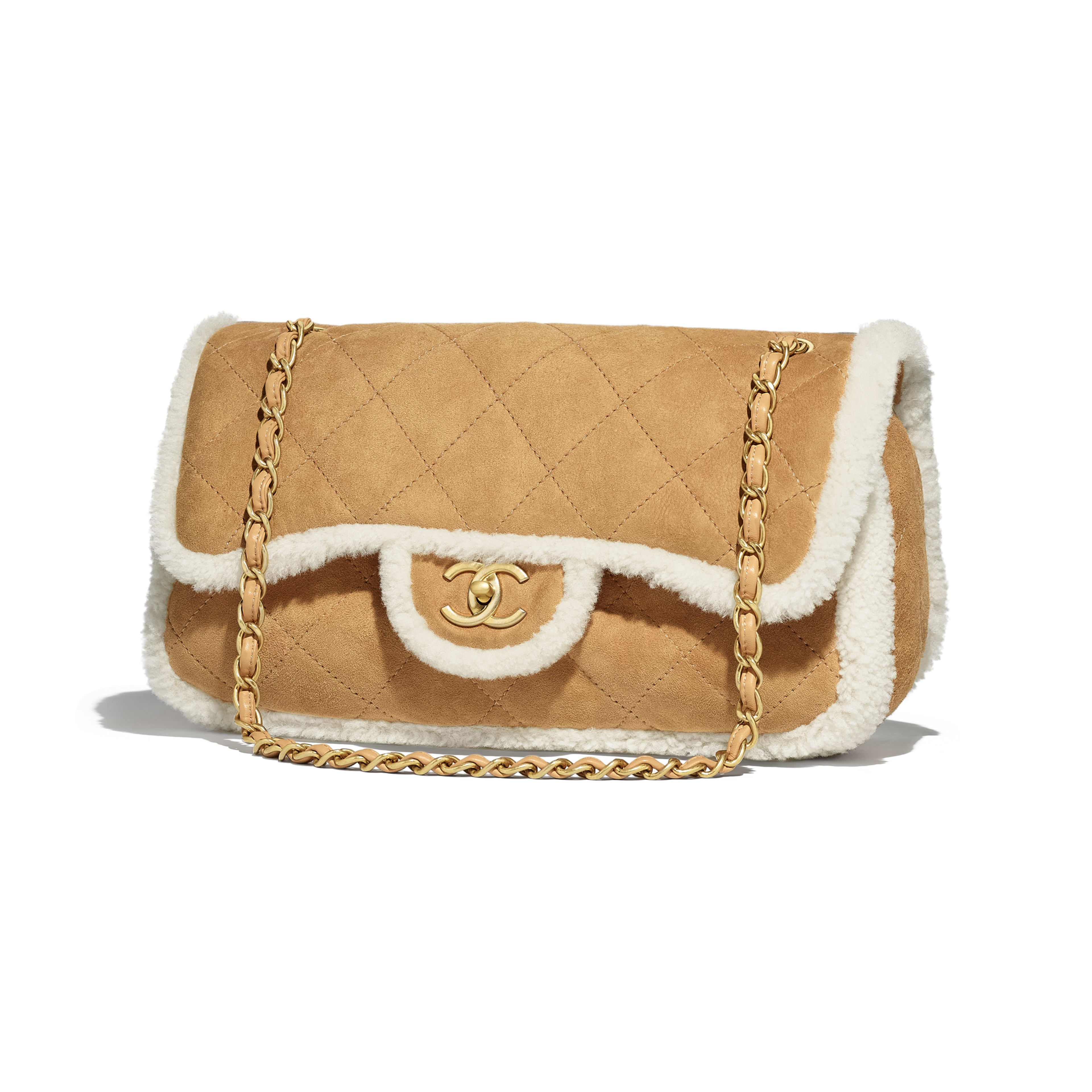 76124a0b9456 Flap Bag - Beige - Shearling Lambskin & Gold-Tone Metal - Default view -  see full sized version
