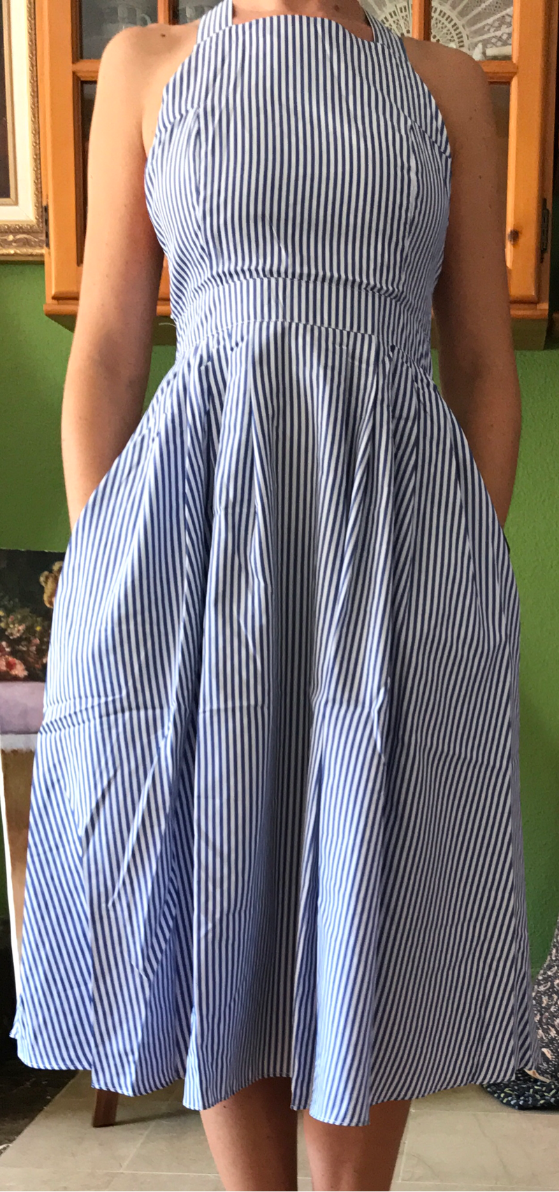 a475d27a0 Vestido rayas sin manga espalda cruzada -azul-Spanish SheIn(Sheinside)