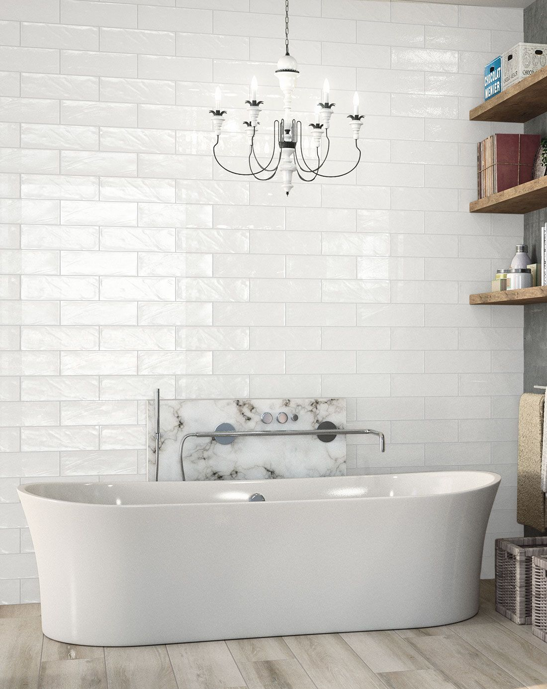 Bulevar Ripple Antique White Ceramic Wall Tile Has A Simple Design