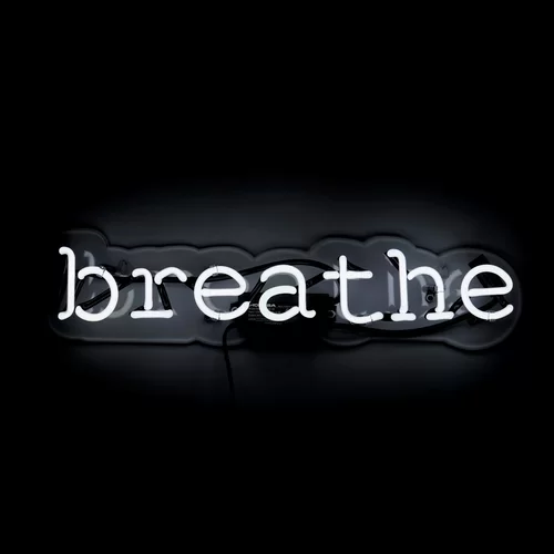 Breathe Neon Sign Black Aesthetic Wallpaper Black Aesthetic Black And White Picture Wall