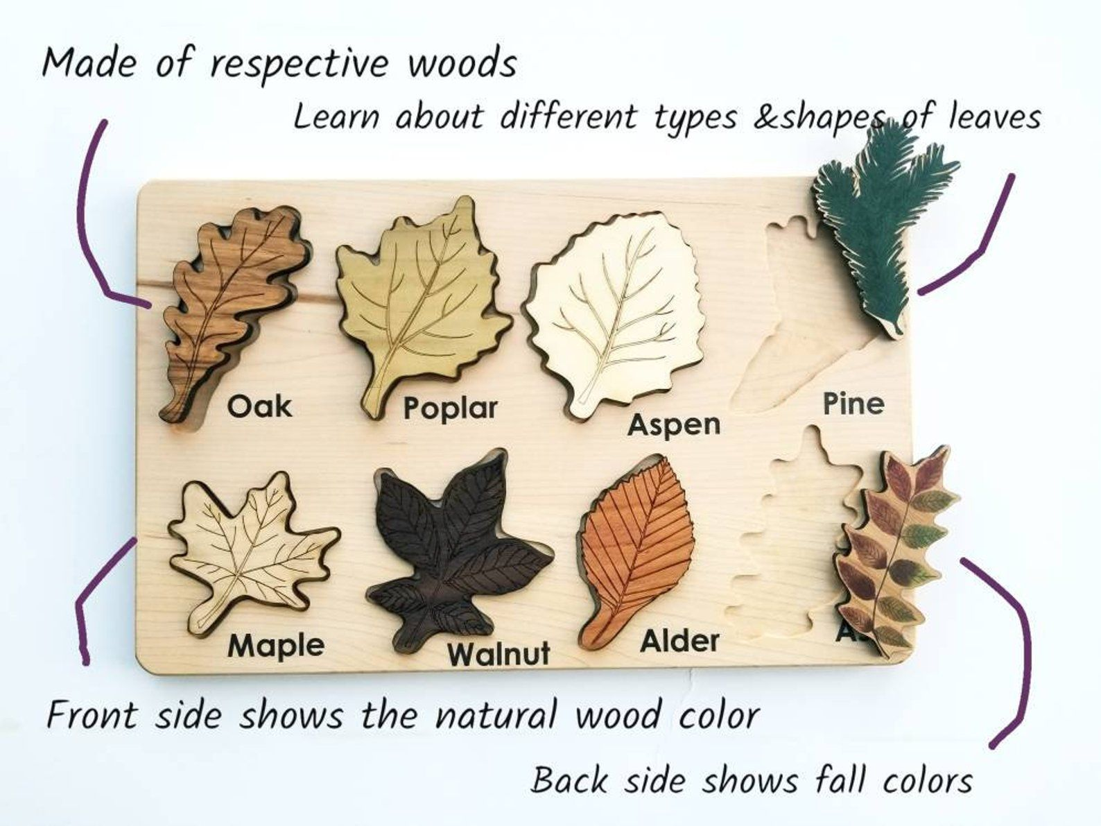 Leaf Puzzle Montessori Puzzle Christmas T Wooden