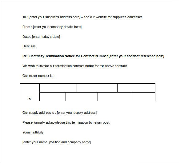 contract termination letter template free sample example - letters of termination of employment examples