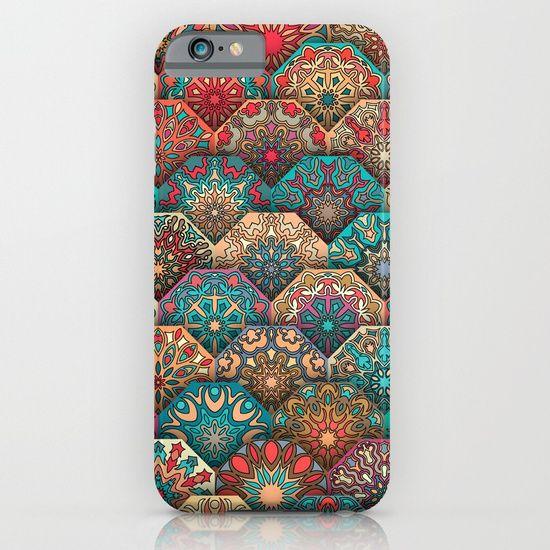 Vintage patchwork with floral mandala elements iPhone & iPod Case