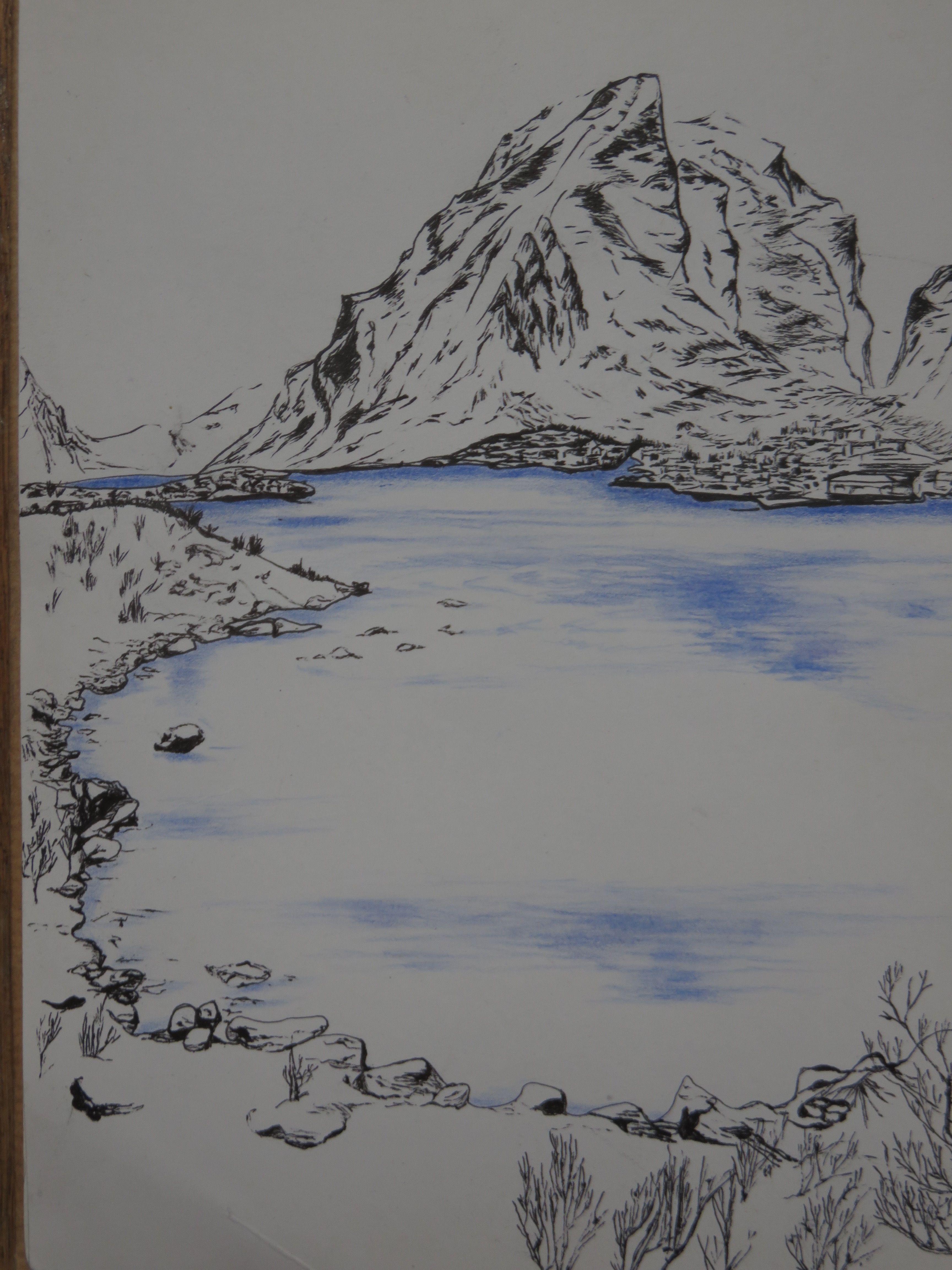 Lac Et Montagne Haute Savoie Stylo Noir Et Crayon Aquarelle
