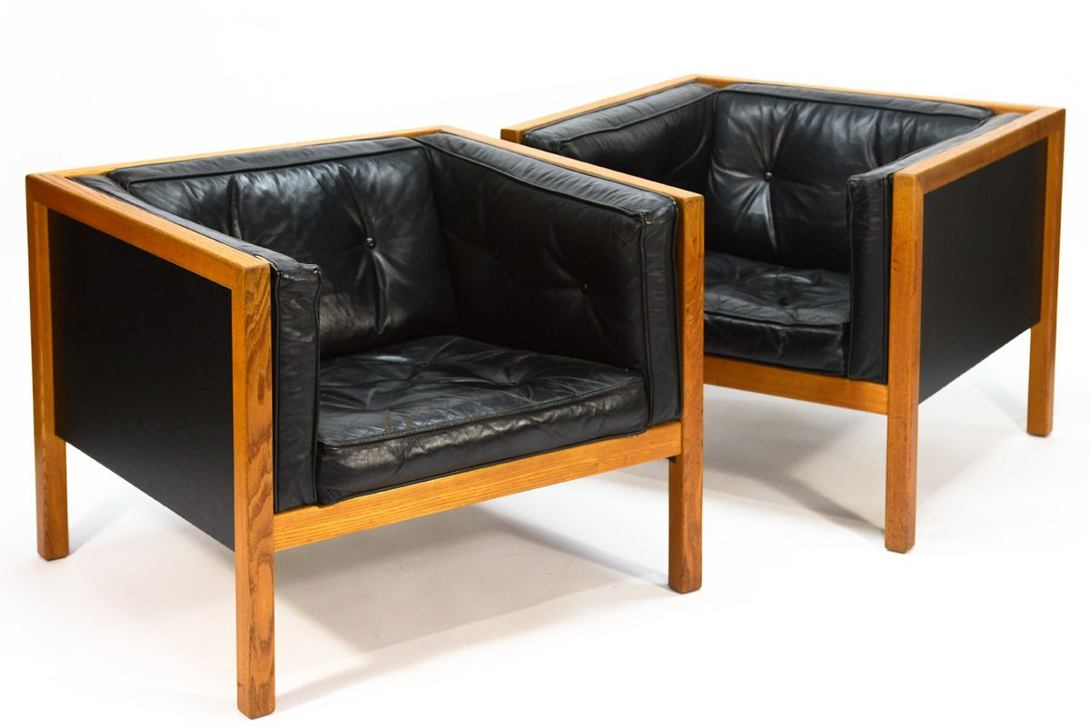 Fine Great Pair Of Vintage Leather Cube Series Chairs Designed By Creativecarmelina Interior Chair Design Creativecarmelinacom