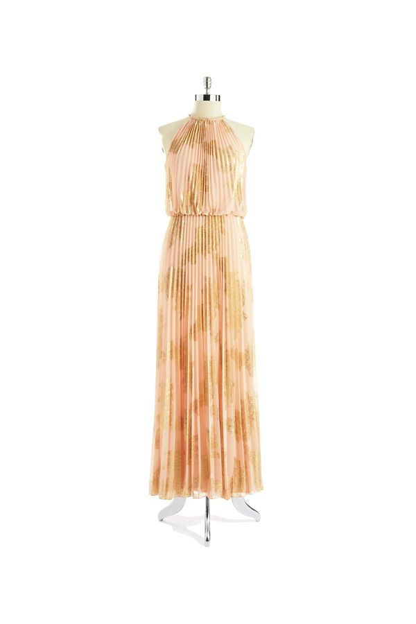 Xscape Pleated Halter Top Gown Peach/Gold   ! ♥ Fashion......Love ...