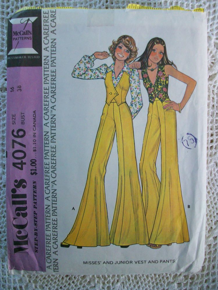 Vintage 70s Mccalls Sewing Pattern 4076 Very Wide Hippie Pants