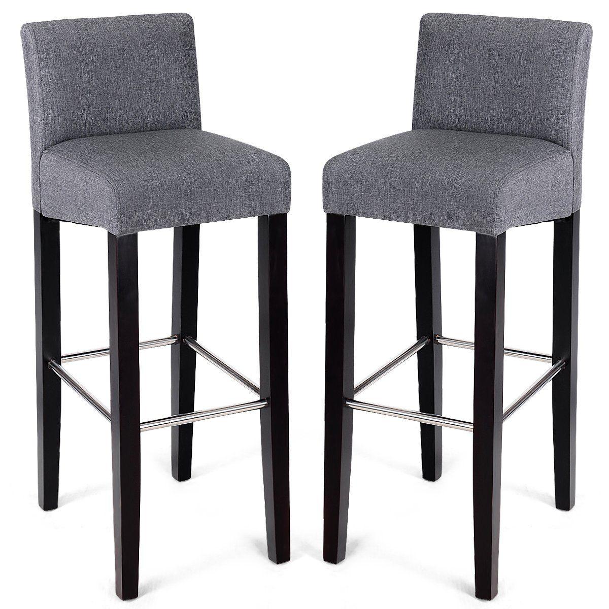 Barbuda Grey Tufted Bar Stool Upholstered Vintage Linen Mdn Upholstered Bar Stools Bar Stools Leather Dining