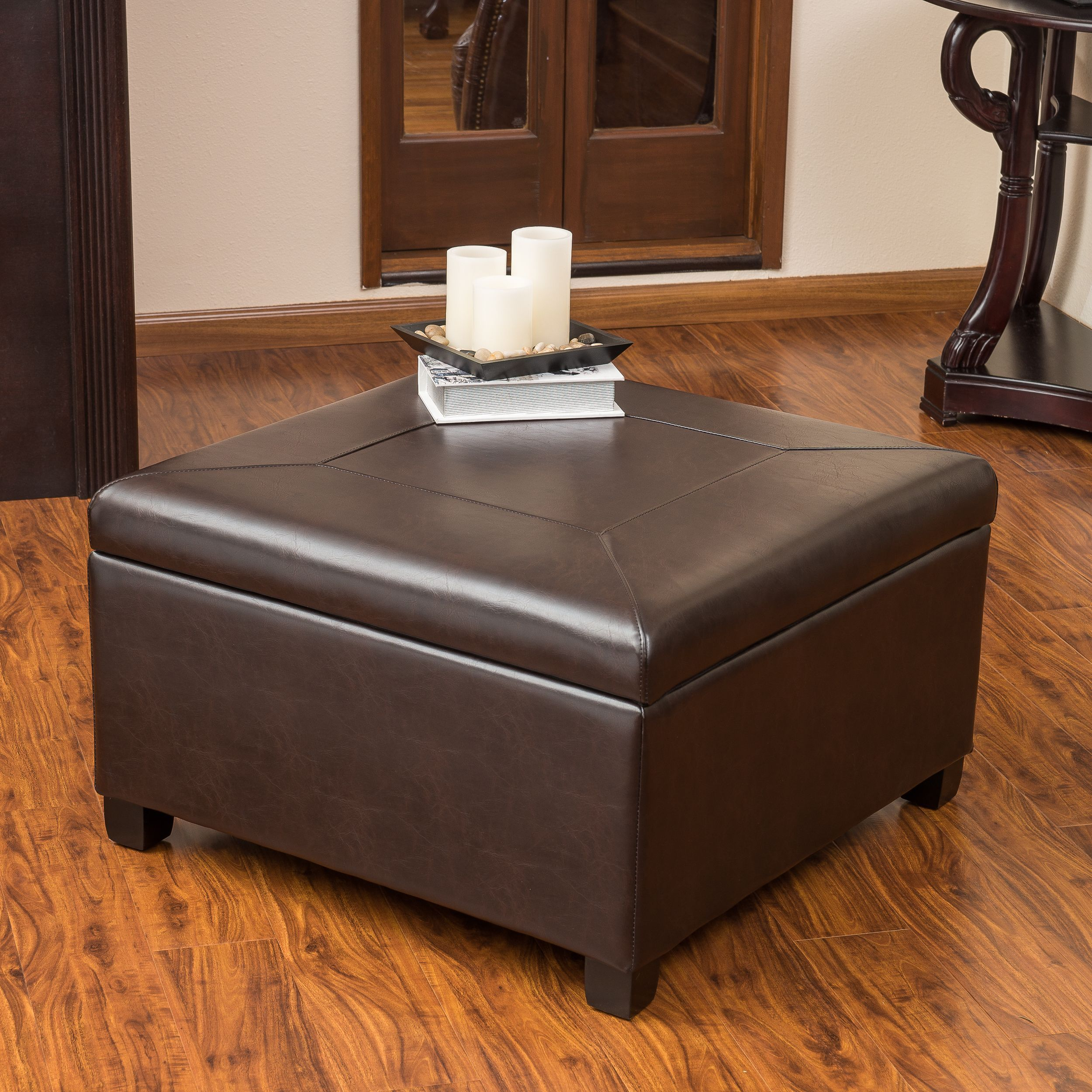 Christopher Knight Home Sandra Brown Leather Storage Ottoman ...