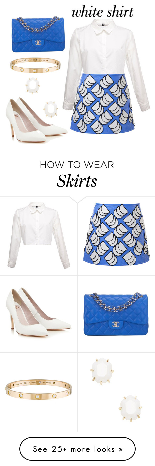 """""""#whiteshirt #blueskirt #skirt"""" by star-wars-princess on Polyvore featuring Courrèges, Chanel, Lipsy, Cartier, Kendra Scott and WardrobeStaples"""