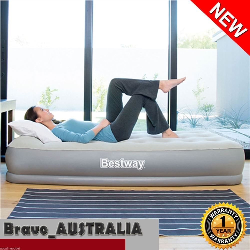 bestway inflatable air bed queen flocked camping mattress built in