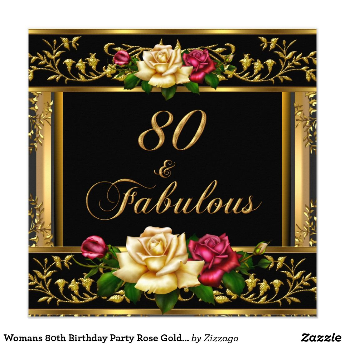 Womans 80th Birthday Party Rose Gold Vintage Card