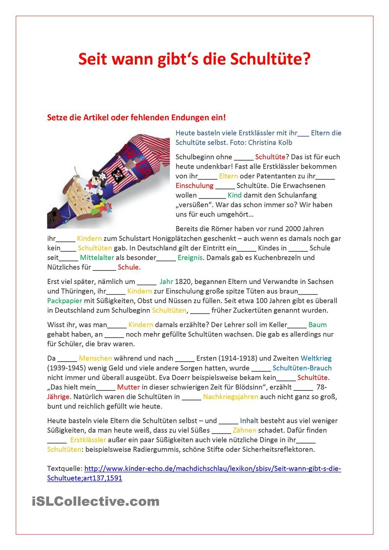 Artikeldeklination: Seit wann gibt es Schultueten?   Deutsch ...