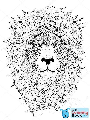 Lion Head Coloring Pages For Adults Lion Head Coloring Intended For Lion Head Coloring Pages Lion Coloring Pages Mandala Coloring Pages Animal Coloring Pages
