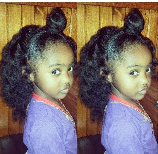 Bun N Blow Out Cute Natural Hair For Girls Look At My Child Lol Kids Hairstyles Natural Hairstyles For Kids Natural Hair Styles