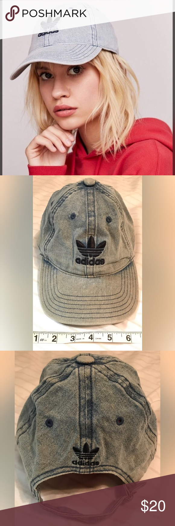 e72c70bb Blue AcidWash ADIDAS Original Relaxed Treifoils Denim Acid Wash ADIDAS  Original Relaxed Treifoils baseball cap. Adjustable strap. Excellent  condition.