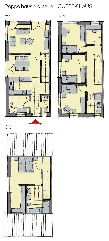 Grundriss Doppelhaus mit Satteldach Architektur 6 Zimmer