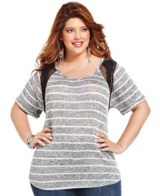 Jessica Simpson Plus Size Short-Sleeve Striped Lace-Trim Top