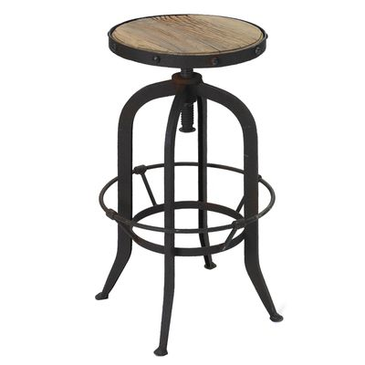 Black Metal and Wood Bar Stool