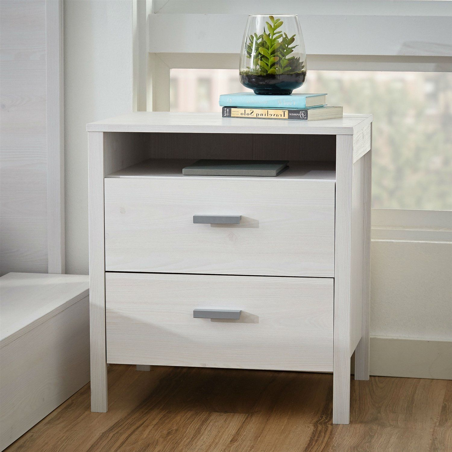 Modern 2 Drawer Nightstand Bedside Table In Larch White Wash Woodgrain