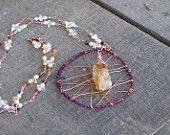 Orchid Bloom Citrine Dreamcatcher Necklace OOAK wire wrapped crystals pearls