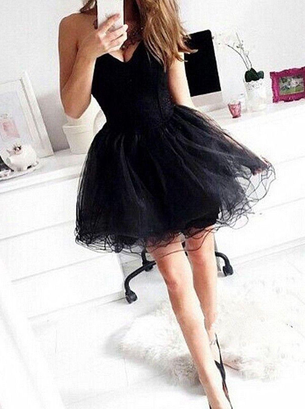 dramatic ball gown sweetheart short black organza homecoming