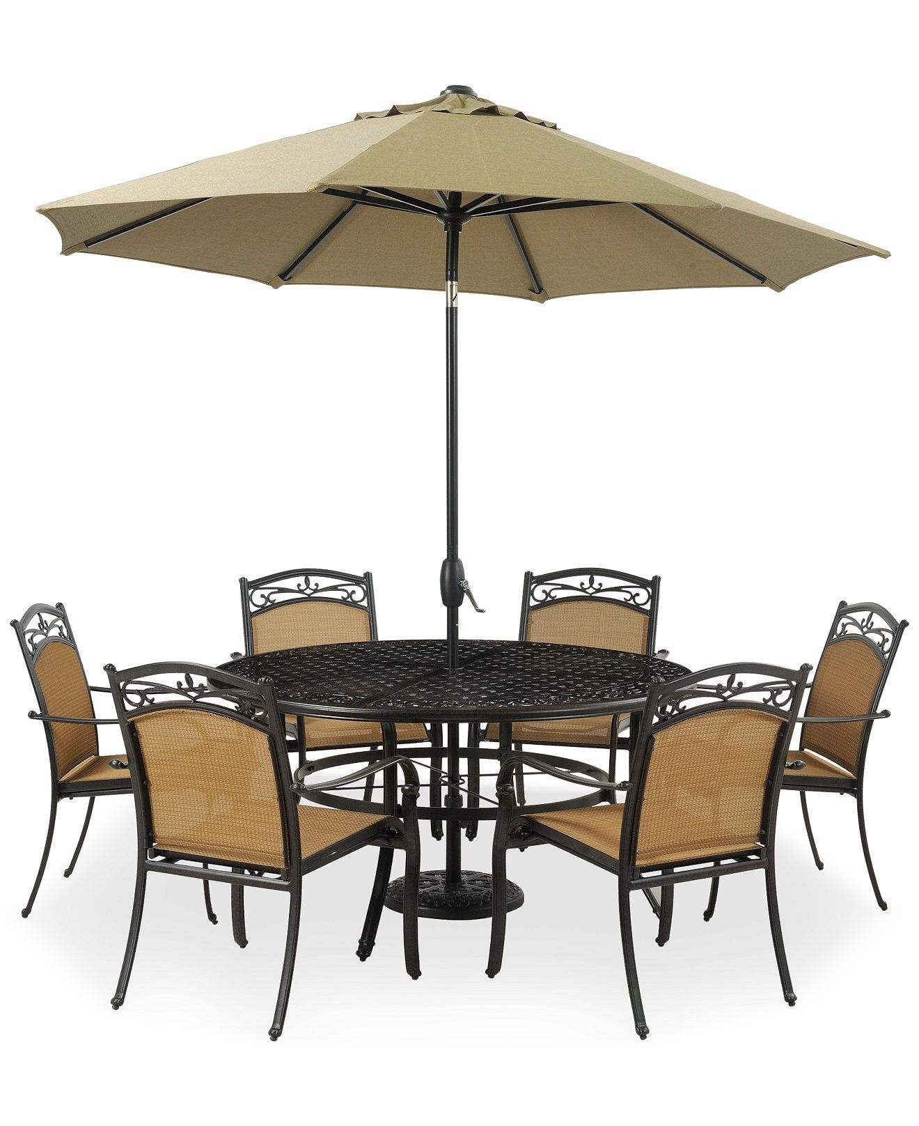 """Renly Outdoor 7 Piece Dining Set 60"""" Round Table and 6 Dining"""