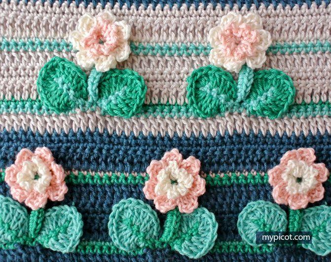Crochet Flower Stitch Tutorial - (mypicot) | puntos varios ...