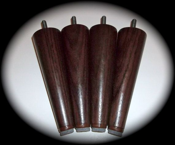 "Solid Genuine Rosewood Mid Century Style Replacement Sofa Legs. Fits ikea Karlstad and Other Styles  5 7/8"" High Set of 4."