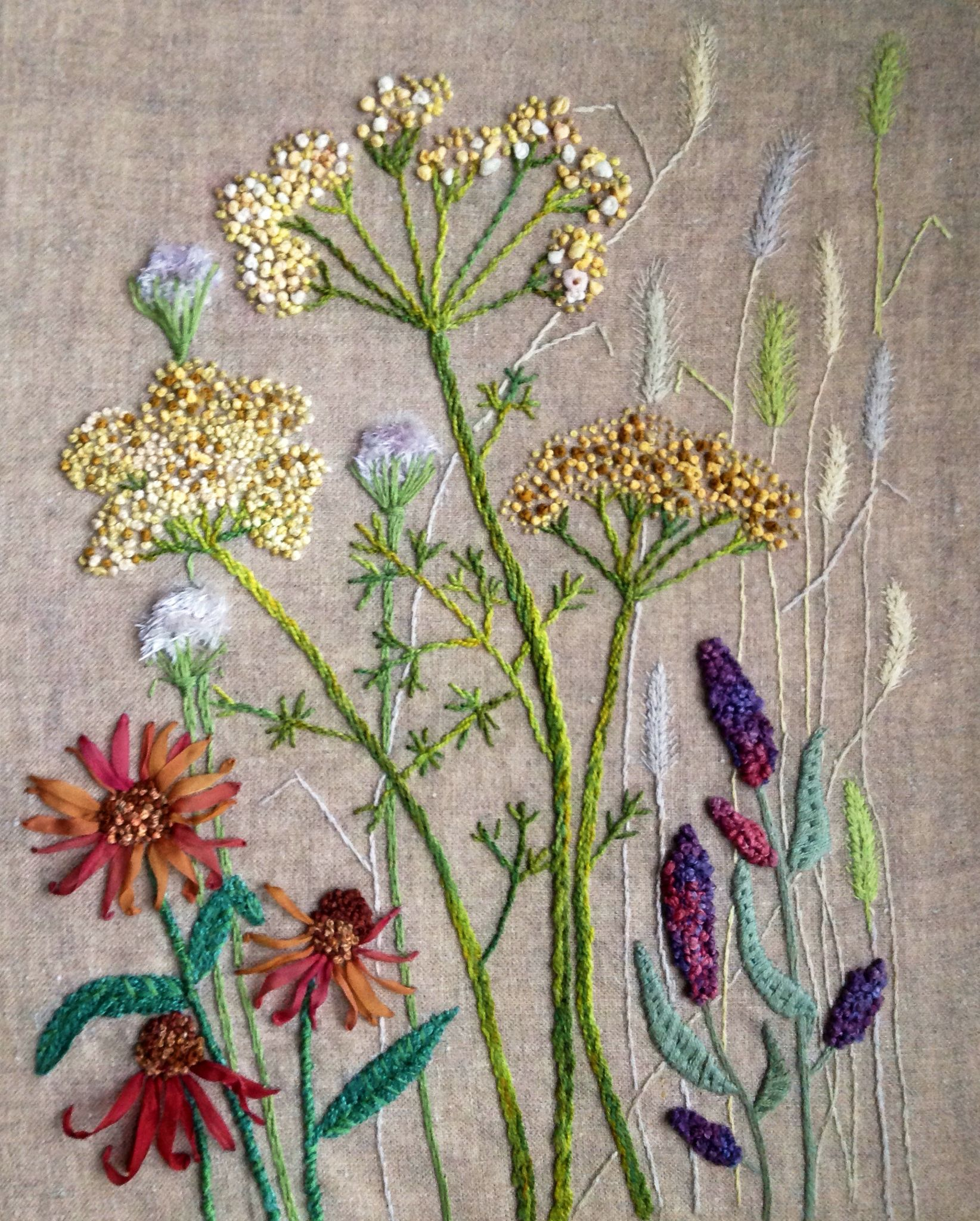 Silk ribbon and floss embroidered wild flowers стежка