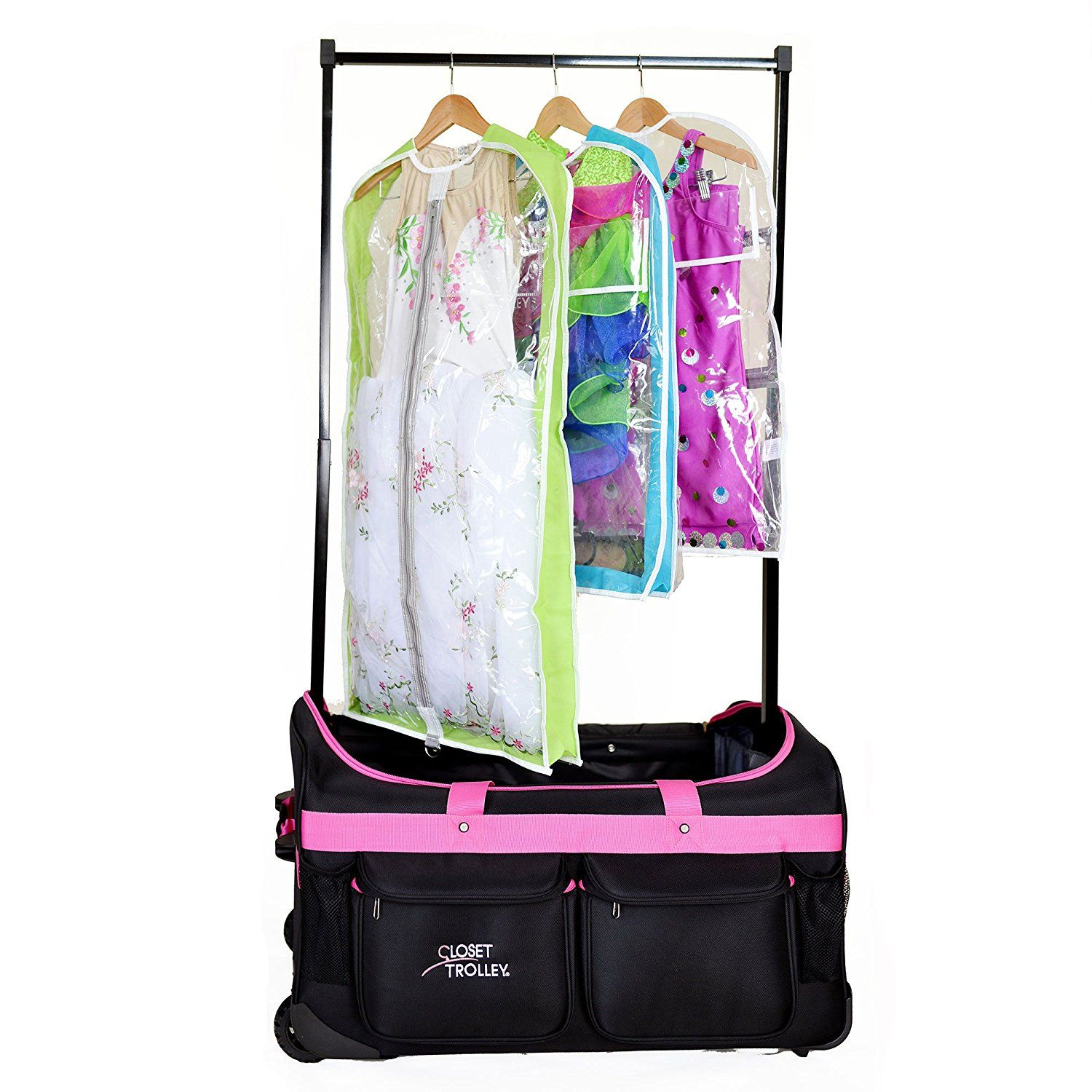Closet Trolley Dance Bag With Garment Rack Pink Duffel Click Image For More Details