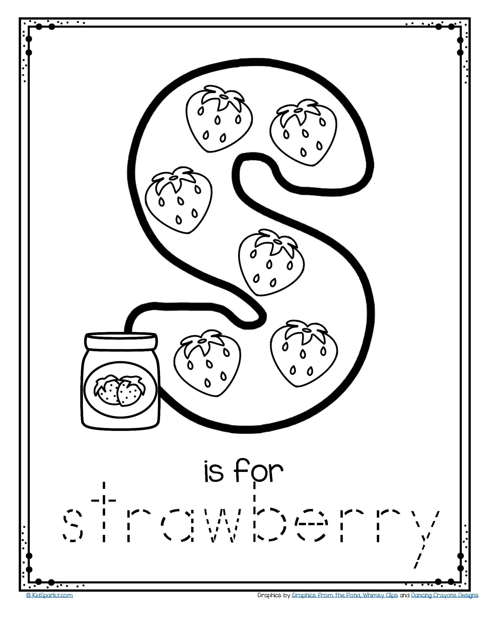 FREE S is for strawberry alphabet letter printable.