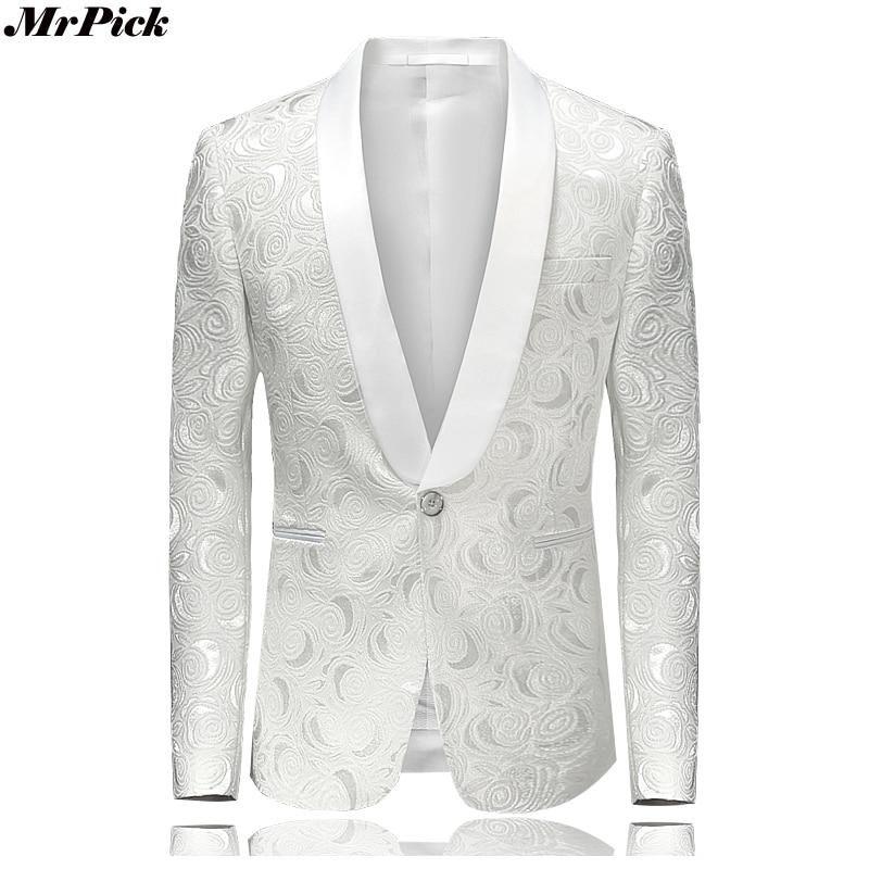 d3633c0e2d4 2017 New Men s White Floral Printed Blazer Fashion Casual Designer Brand  Luxury Blazers