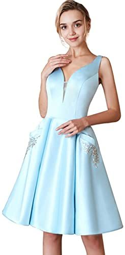 Best Seller V-Neck Homecoming Dresses Satin Beaded Pockets Short Long Cocktail Prom Dresses online - Seetopstar