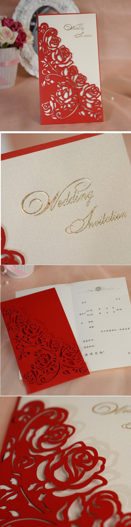 2016 Laser cut White Hollow red wedding invitation card set in ...