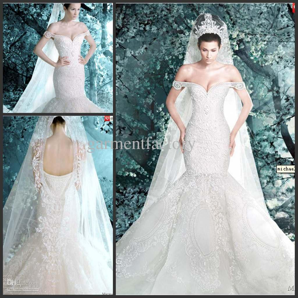 Luxurious michael cinco mermaid wedding dress off shoulder hand elegant wedding gowns ombrellifo Choice Image