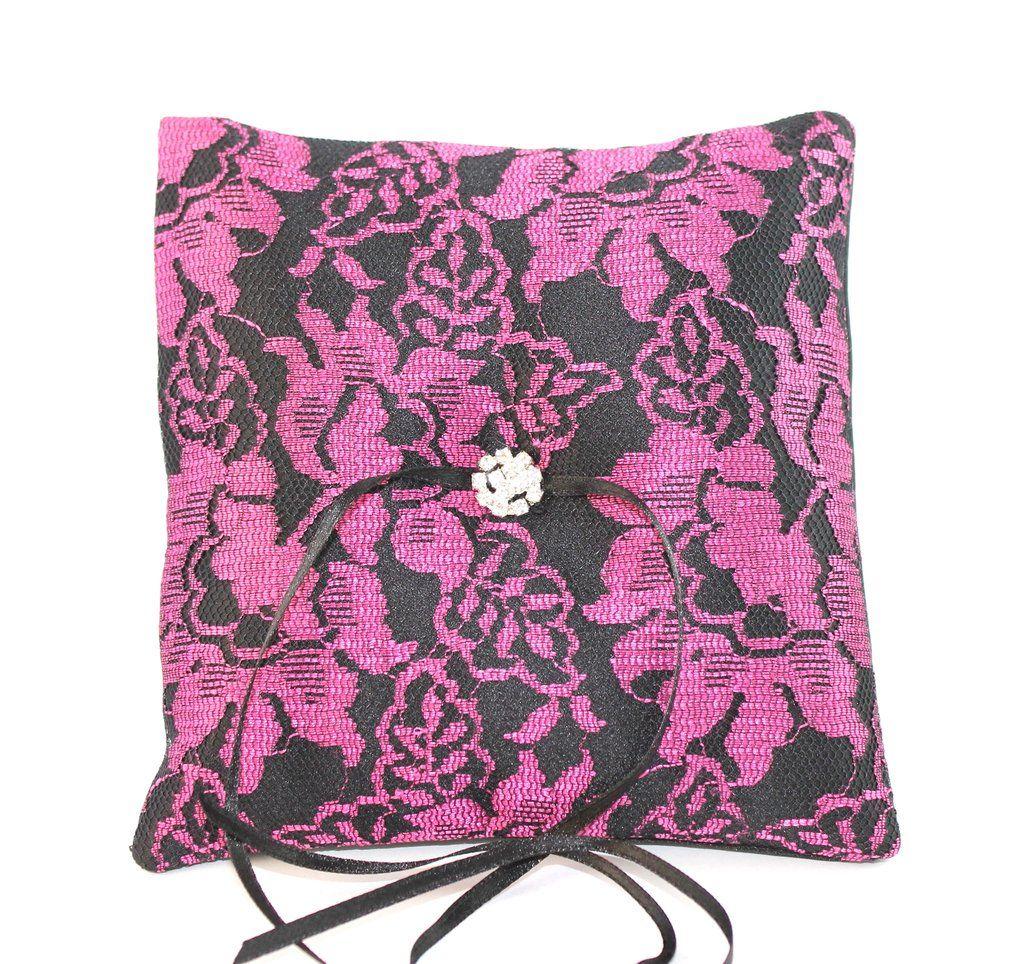 Gothic Wedding Ring Pillow - Cerise