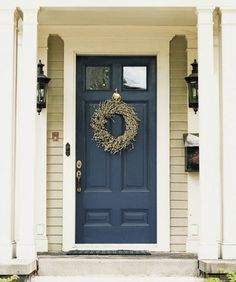House Door Colors navy blue front door with tan house - google search | house decor