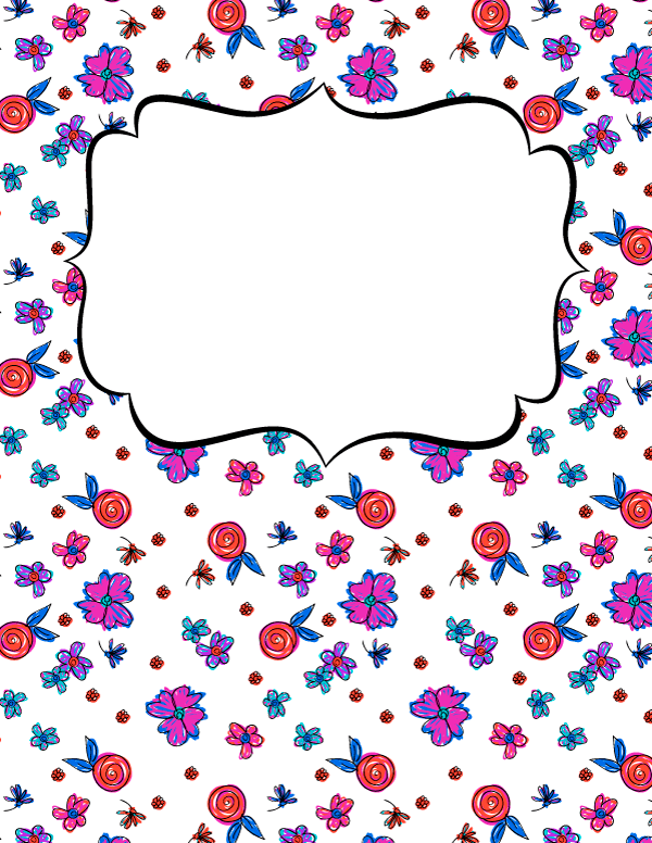 free printable floral doodle binder cover template download the cover in jpg or pdf format