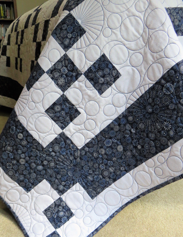 handmade queen size quilt for sale navy