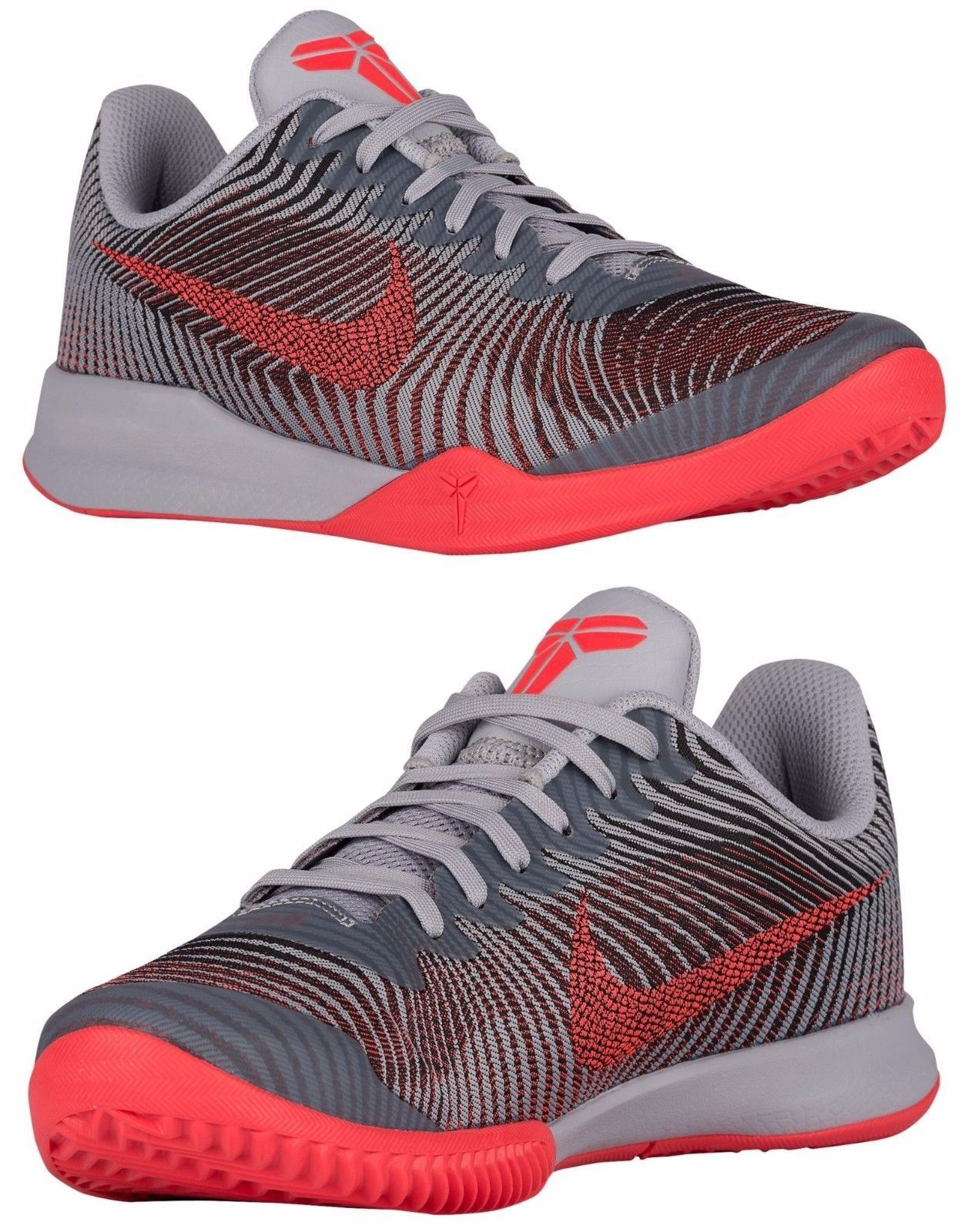 super cute bb6e6 6478a NIKE KOBE MENTALITY 2 TRAINING MEN s M MESH WOLF GREY - CRIMSON - BLACK NEW  SIZE