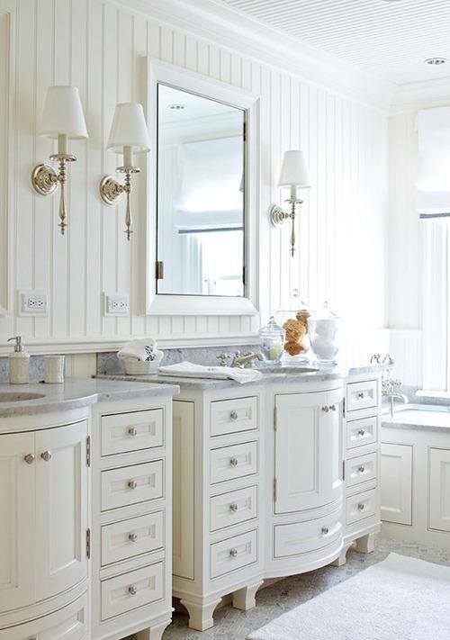 Charming Bathroom With Beadboard Walls Curved Cabinets Beadboard Bathroom Cottage Style Bathrooms Traditional Bathroom