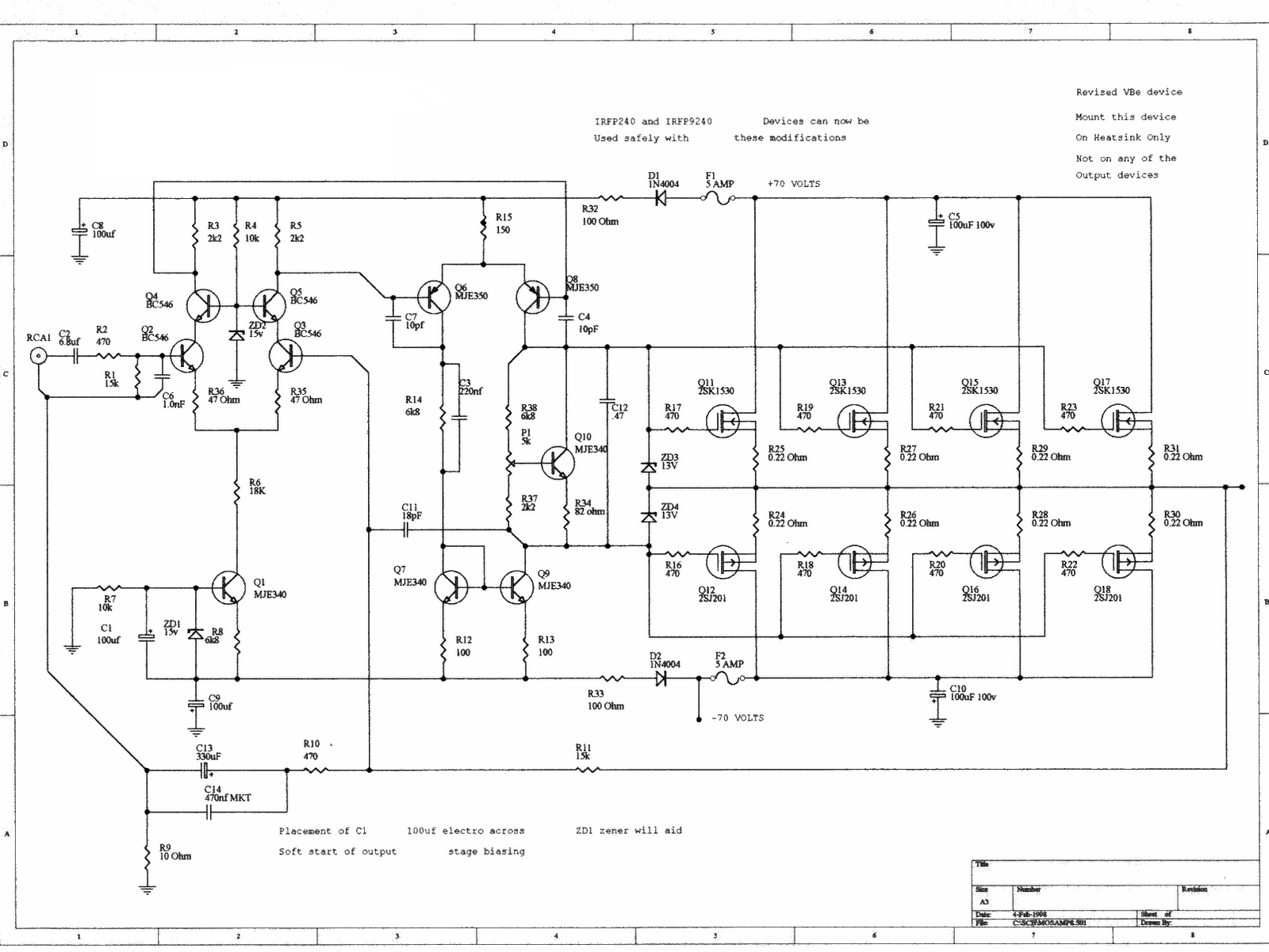 230 400 Watt Power Amplifier Mosfet Amp Circuit Diagram 1000w Electronic Circuits
