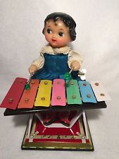 Vintage Little Performer Girl Playing Xylophone Tin Wind Up Mechanical Toy WORKS